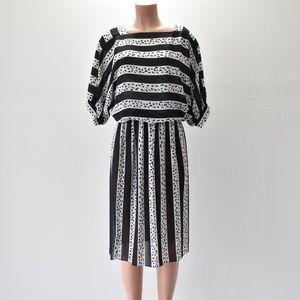 Virgo II Sheer Dress Black & White Size 10
